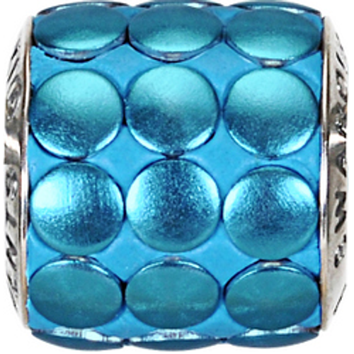 Swarovski 80701 9.5mm BeCharmed Pavé Metallics Beads with BLUE BRUSHED Stones on Luminous Blue base (12 pieces)