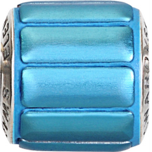Swarovski 80801 9.5mm BeCharmed Pavé Metallics Beads with BLUE BRUSHED Stones on Luminous Blue base (12 pieces)