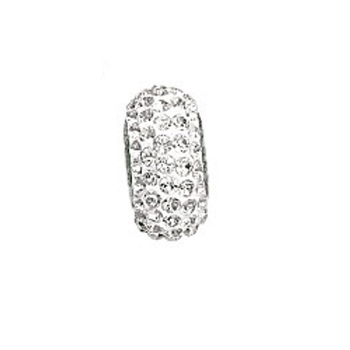 Swarovski 81101 13.5mm BeCharmed Pavé Slim Beads with Crystal AB Stones on White base (12 pieces)
