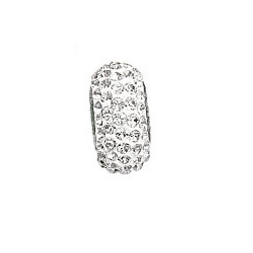 Swarovski 81101 13.5mm BeCharmed Pavé Slim Beads with Black Diamond Stones on Silver base (12 pieces)