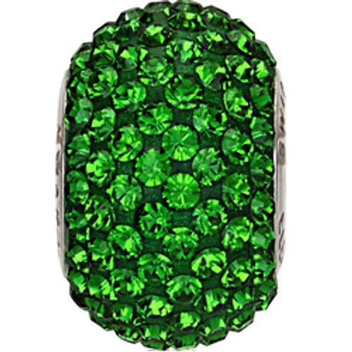 Swarovski 80101 14mm BeCharmed Pavé Beads with Dark Moss Green Chatons on Shining Green base (12 pieces)