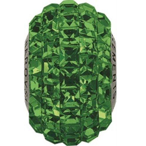 Swarovski 80201 15mm BeCharmed Pavé Beads with Dark Moss Green Square Fancy stones on Shining Green base (12 pieces)