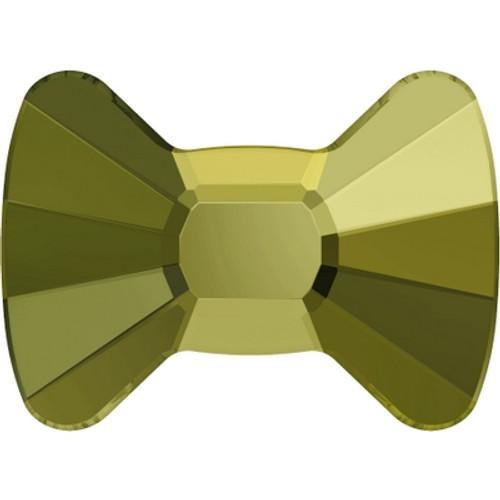 Swarovski 2858 12mm Bow Tie Flatback Crystal Iridescent Green Hot Fix (96 pieces)