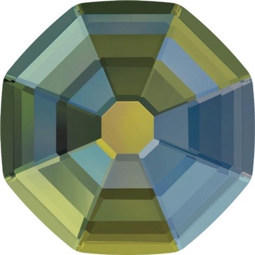 Swarovski 2611 14mm Solaris Flatback Crystal Iridescent Green Hot Fix (48 pieces)