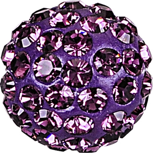 Swarovski 86001 6mm Pave Ball Bead w/ Amethyst Chatons on Dark Lila base (12 pieces)