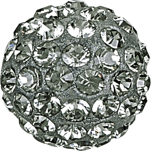 Swarovski 86001 6mm Pave Ball Bead w/ Black Diamond Chatons on Silver base (12 pieces)