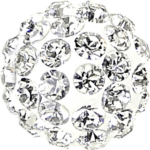 Swarovski 86001 10mm Pave Ball Bead w/ Crystal Chatons on White base (12 pieces)