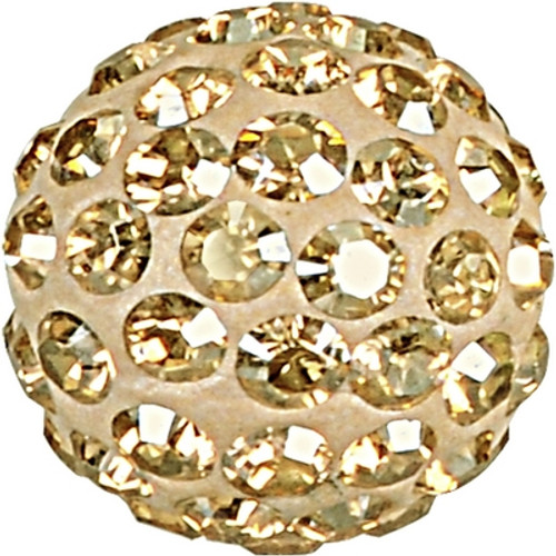 Swarovski 86001 8mm Pave Ball Bead w/ Crystal Golden Shadow Chatons on Pearl Silk base (12 pieces)