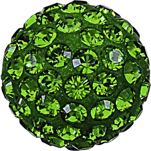Swarovski 86001 8mm Pave Ball Bead w/ Dark Moss Green Chatons on Shining Green base (12 pieces)