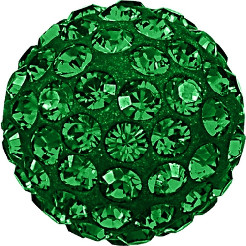 Swarovski 86001 10mm Pave Ball Bead w/ Emerald Chatons on Dark Green base (12 pieces)