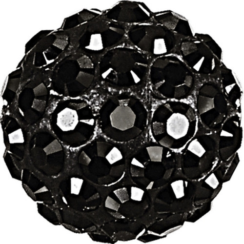 Swarovski 86001 6mm Pave Ball Bead w/ Jet Chatons on Black base (12 pieces)