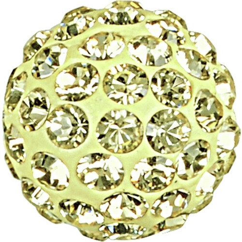 Swarovski 86001 6mm Pave Ball Bead w/ Jonquil Chatons on Gold base (12 pieces)