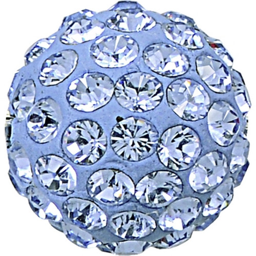 Swarovski 86001 8mm Pave Ball Bead w/ Light Sapphire Chatons on Sky Blue base (12 pieces)
