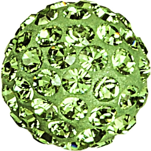 Swarovski 86001 8mm Pave Ball Bead w/ Peridot Chatons on Light Green base (12 pieces)