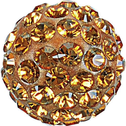 Swarovski 86001 10mm Pave Ball Bead w/ Topaz Chatons on Shining Curry base (12 pieces)