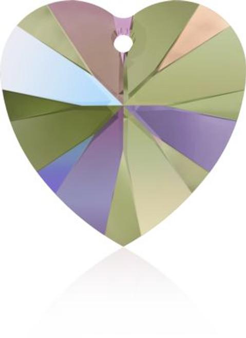 Swarovski 6228 28mm Xilion Heart Pendants Crystal Paradise Shine