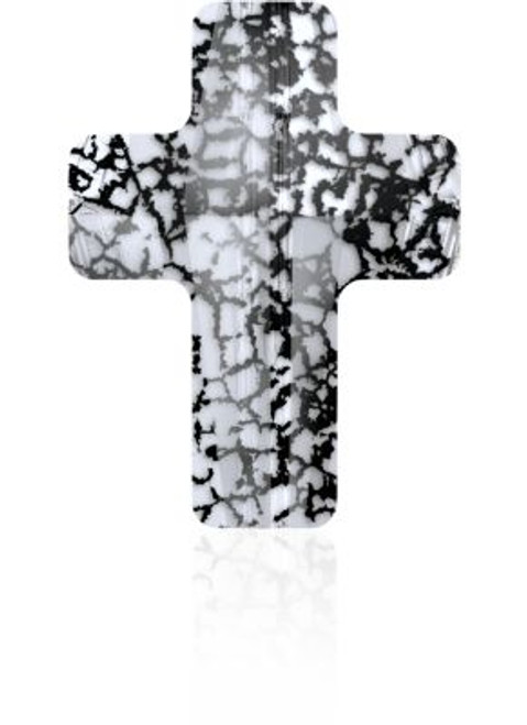 Swarovski 5378 14mm Cross Beads Crystal Black Patina