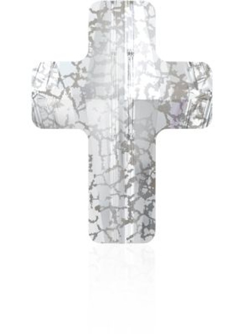 Swarovski 5378 14mm Cross Beads Crystal Silver Patina