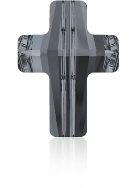 Swarovski 5378 14mm Cross Beads Crystal Silver Night