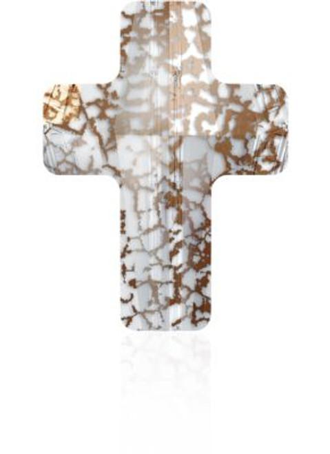 Swarovski 5378 18mm Cross Beads Crystal Rose Patina