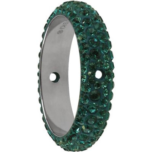 Swarovski 85001 14.5mm BeCharmed Pave Thread Ring Dark Moss Green (6 pieces )