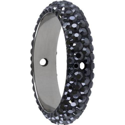 Swarovski 85001 14.5mm BeCharmed Pave Thread Ring Jet Hematite (6 pieces )