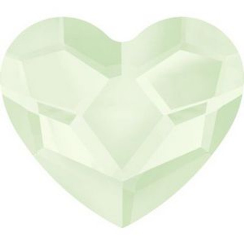 Swarovski 2808 10mm Heart Flatback Crystal Powder Green