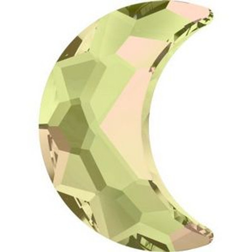 Swarovski 2813 10mm Moon Flatback Crystal Luminous Green Hot Fix