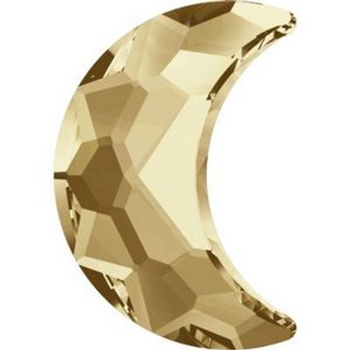 Swarovski 2813 14mm Moon Flatback Crystal Golden Shadow