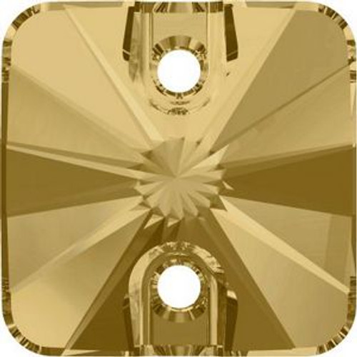 Swarovski 3201 14mm Rivoli Square Sew on Stones Crystal Golden Shadow