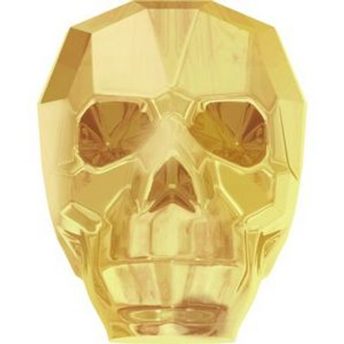 Swarovski 5750 19mm Skull Beads Crystal Metallic Sunshine