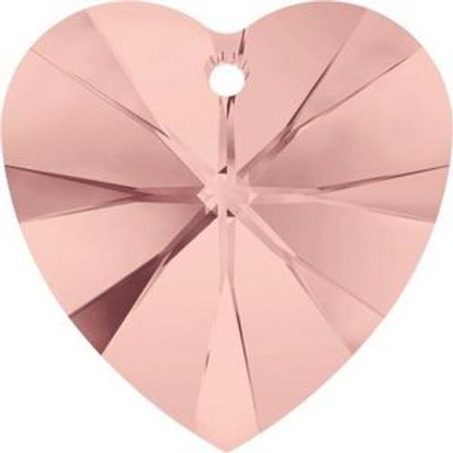 Swarovski 6228 18mm Xilion Heart Pendants Blush Rose