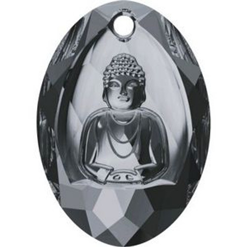 Swarovski 6871 28mm Buddha Pendants Crystal Silver Night