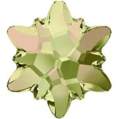 Swarovski 2753 14mm Edelweiss Flatbacks Crystal Luminous Green Frosted