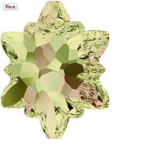 Swarovski 6748 28mm Edelweiss Pendants Crystal Luminous Green Frosted