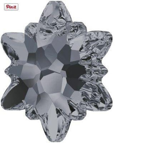 Swarovski 6748 28mm Edelweiss Pendants Crystal Silver Night Frosted