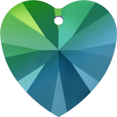 Swarovski 6228 14mm Xilion Heart Pendants Crystal Scarabaeus Green