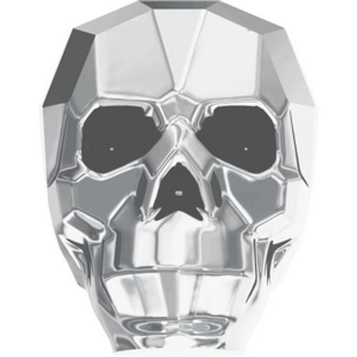 Swarovski 5750 19mm Skull Beads Crystal Light Chrome 2X