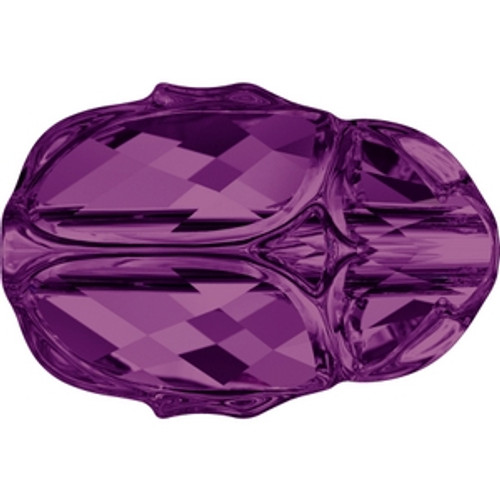 Swarovski 5728 12mm Amethyst Scarab Beads . Amethyst is the February birthstone color and is a medium to dark reddish purple tone and blends nicely with Lilac and Light Amethyst. . Swarovski Crystal is the finest quality precision-cut crystal in the world. Fashionable and sophisticated styles are infused with rich colors and lavish coatings. SWAROVSKI ELEMENTS are essential in creating captivating jewelry designs of exceptional radiance and quality.
