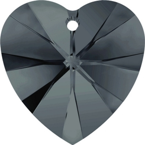 Swarovski 6228 14mm Graphite Xilion Heart Pendants . Graphite brings a dark and strong, bluish gray-black tone to the palette that features an entirely homogenous surface, rendering it ideal for creating graduated transitions between Crystal Silver Night and Jet.  . Swarovski Crystal is the finest quality precision-cut crystal in the world. Fashionable and sophisticated styles are infused with rich colors and lavish coatings. SWAROVSKI ELEMENTS are essential in creating captivating jewelry designs of exceptional radiance and quality.