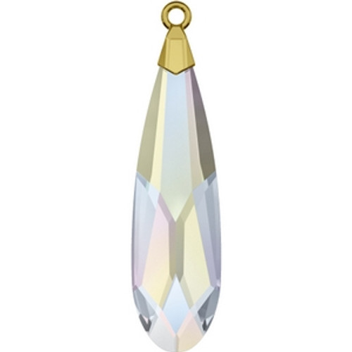 Swarovski 6533 17mm Crystal AB Gold Raindrop Pendants . Crystal is the April birthstone color representing a clear diamond and the AB coating, which stands for Aurora Borealis, adds a highly iridescent effect over half of the crystal that increases the brilliance and shine with shimmering tints of yellow, pink and blue sparkle.   . Swarovski Crystal is the finest quality precision-cut crystal in the world. Fashionable and sophisticated styles are infused with rich colors and lavish coatings. SWAROVSKI ELEMENTS are essential in creating captivating jewelry designs of exceptional radiance and quality.