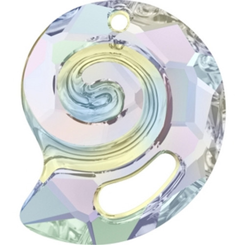 Swarovski 6731 14mm Crystal AB Sea Snail Pendants . Crystal is the April birthstone color representing a clear diamond and the AB coating, which stands for Aurora Borealis, adds a highly iridescent effect over half of the crystal that increases the brilliance and shine with shimmering tints of yellow, pink and blue sparkle.   . Swarovski Crystal is the finest quality precision-cut crystal in the world. Fashionable and sophisticated styles are infused with rich colors and lavish coatings. SWAROVSKI ELEMENTS are essential in creating captivating jewelry designs of exceptional radiance and quality.