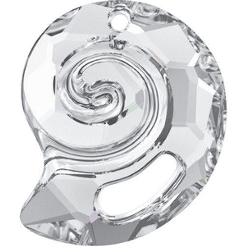 Swarovski 6731 28mm Crystal Sea Snail Pendants . Crystal is the April birthstone color representing a clear diamond and its translucent quality creates a subtle shine of prismatic colors that complements all shades of the color spectrum. . Swarovski Crystal is the finest quality precision-cut crystal in the world. Fashionable and sophisticated styles are infused with rich colors and lavish coatings. SWAROVSKI ELEMENTS are essential in creating captivating jewelry designs of exceptional radiance and quality.