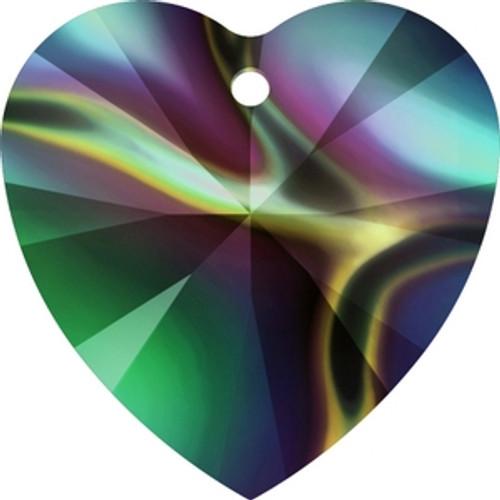 Swarovski 6228 14mm Crystal Rainbow Dark Xilion Heart Pendants