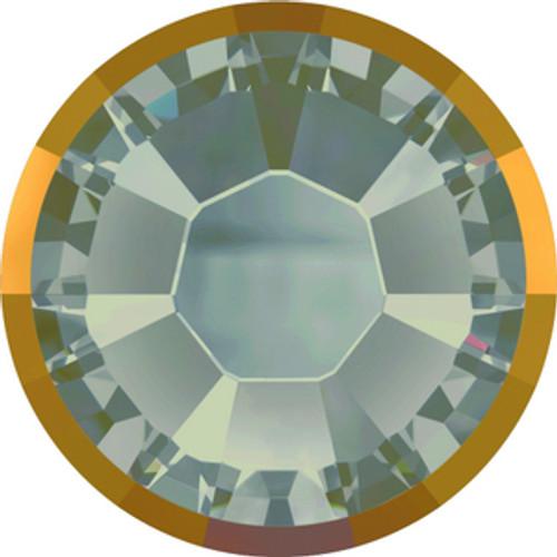 Swarovski style # 2078-I Rimmed Xirius Flatbacks White Opal Light Chromez Hot Fix