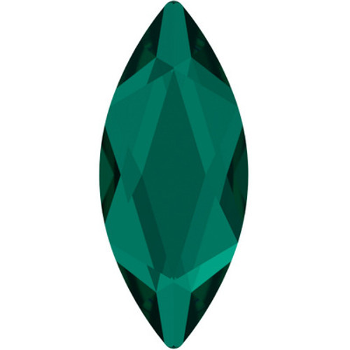 Swarovski 2201 14mm Marquise Flatback Emerald Hot Fix