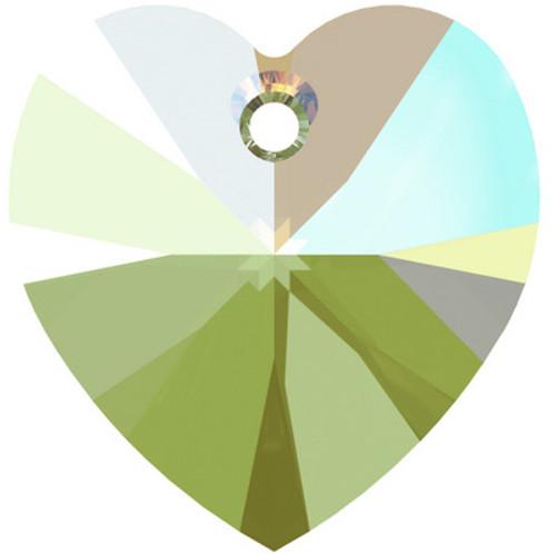Swarovski 6228 10mm Xilion Heart Pendants Erinite Shimmer