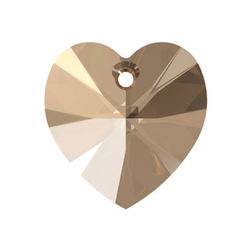 Swarovski 6228 10mm Xilion Heart Pendants Light Colorado Topaz