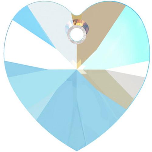Swarovski 6228 14mm Xilion Heart Pendants Light Sapphire Shimmer