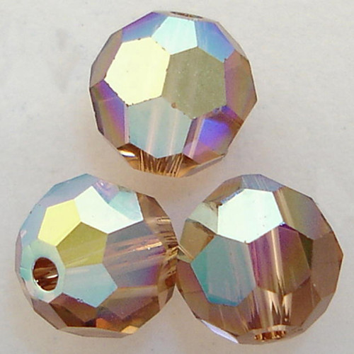 Swarovski 5000 4mm Round Beads Light Smoked Topaz AB